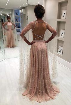 Elegantes rosa schier rückenfreies Sicken A-Linie Abschlussballkleid - Вечірні сукні - Prom dresses A Line Prom Dresses, Bridesmaid Dresses, Formal Dresses, Wedding Dresses, Pink Dresses, Maxi Dresses, Unique Prom Dresses, Prom Gowns, Pretty Dresses