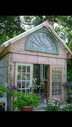 What better way to recycle old salvaged windows than to build them into a unique garden greenhouse or potting shed? Old windows, door. Greenhouse Shed, Greenhouse Gardening, Small Greenhouse, Greenhouse Heaters, Greenhouse Wedding, Old Window Greenhouse, Outdoor Greenhouse, Portable Greenhouse, Gazebos