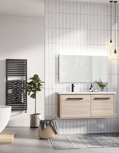 For an ultra-chic modern bathroom combine statement matt black features with a neutral colour palette. Simple clean lines, natural woods tones and featuring lighting will create a serene ambience to unwind. Serene Bathroom, Wood Bathroom, Bathroom Black, Bathroom Ideas, Rustic Bathrooms, Modern Bathrooms, Bathroom Design Inspiration, Wall Mounted Vanity, Vanity Units