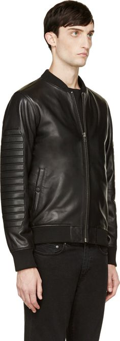 Surface to Air: Black Nappa Leather 3D Bomber Jacket | SSENSE