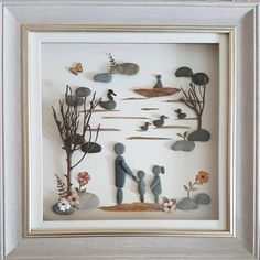 A day at Llandrindod lake Sea Glass Crafts, Sea Glass Art, Stone Crafts, Rock Crafts, Box Frame Art, Pebble Art Family, Recycled Art Projects, Shadow Box Art, Pebble Pictures