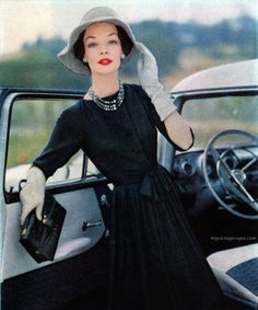 Ladies Home Journal October 1957 - Photo by Wilhela Cushman  Dress by Ben Barrack. 1950s fashion