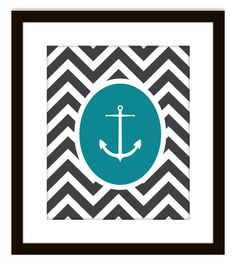 Nautical Chevron Anchor Printable Home Decor Art by PrintsofBeauty, $10.00