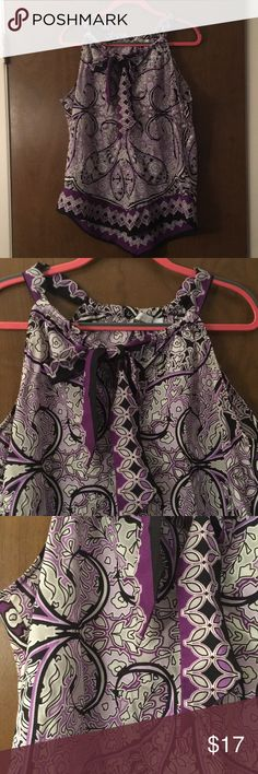 Purple Patterned Top Purple patterned sleeveless top. Can be tied in front. New York & Company Tops Blouses