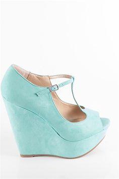 47840a36bf33 T-Strap Peep Toe Heels - Mint Mint Wedges