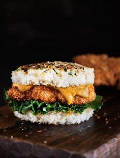 Katsu Fried Chicken and Rice Burger.