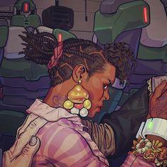 Artist  @mattahan  #art #afrofuturism #fantasy #braids #myblackisbeautiful #blackisbeautiful #blerds #blackpeople  #melanin  #beauty #blacklove #blackwoman #blackwomen #blackbeauty #blackexcellence  #blackgirls #blackn...
