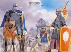 French Medieval Armies - First half Century Osprey Publishing - art by Angus McBride Medieval Knight, Medieval Armor, Medieval Fantasy, Armadura Medieval, Military Art, Military History, High Middle Ages, French History, Dark Ages