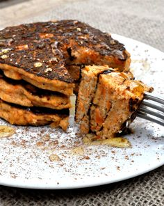 Paleo Sweet Potato Pancakes: Fed and Fit Sweet Potato Pancakes, Paleo Sweet Potato, Mashed Sweet Potatoes, Pancakes And Waffles, Paleo Pancakes, Protein Pancakes, Healthy Recipes, Almond Recipes, Whole Food Recipes
