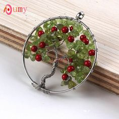 UMY Silver Plated Natural Olivine Gravel Tree of Life Red Round Beads Pendant Necklace Charm Jewelry