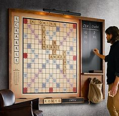 New on Restoration Hardware, and part of their vintage game collection, is this beautifully crafted and original Wall Scrabble version. The dramatically oversized wall-mounted Scrabble game increases the fun factor exponentially, keeping everyones fa Scrabble Board, Scrabble Wall, Scrabble Quilt, Scrabble Crafts, Ideias Diy, Jena, Basement Remodeling, Basement Ideas, Home Organization Tips
