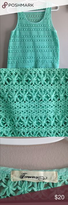 Forever 21 crochet top size S Re-posh, was excited for this bits it's too big on me. Beautiful aqua color crochet top. Wear over a nude camisole with a blazer for the office or as a swim cover-up at the beach. Fits a bit loose. Excellent condition. Forever 21 Tops