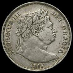 1817 George III Milled Silver 'Bull Head' Half Crown, AVF
