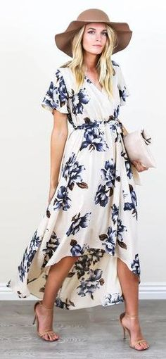 floral dress. tan hat & heeled sandals.
