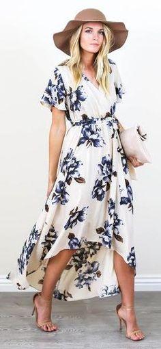 floral dress. tan hat & heeled sandals.