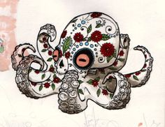 Dia de los Muertos octopus. I've always wanted an octopus tattoo just bc I like it but I wanted something different, not just a plain old octopus. Plus, it's a bit of my Mexican heritage.
