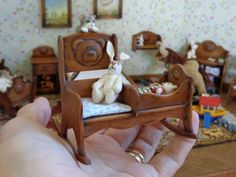 Doll House Miniatures Artisan Victorian Style Child's Rocking Chair + Cradle