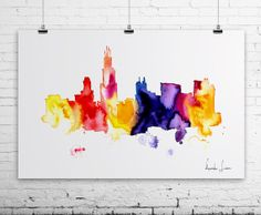 Chicago City Watercolor Painting  Art Print  by WatercolorPrint, $30.00