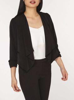 Womens Petite Black Waterfall Jacket- Black