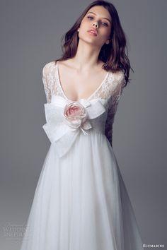 blumarine bridal 2013 2014 empire waist gown lace long sleeves