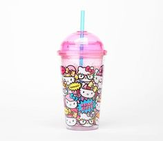 Hello Kitty Plastic Cup with Straw: Kawaii