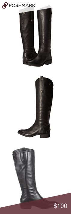 NIB Black Leather Riding Boots Never worn, new with box!!!!!  Back-zip closure with snap tap at shaft. Leather upper with asymmetrical collar. Man-made lining. Lightly cushioned man-made footbed. Stacked heel. Man-made sole. Imported. Product measurements were taken using size 8.5, width M. Please note that measurements may vary by size. Weight of footwear is based on a single item, not a pair. Measurements: Heel Height: 1 in Weight: 1 lb 5 oz Circumference: 15 in Shaft: 15 1⁄2 in Platform…