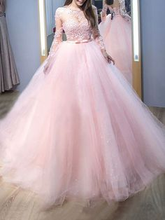 Ball Gown Jewel Long Sleeves Sweep/Brush Train Lace Tulle Dresses - Prom Dresses - Hebeos Online, PO16033PO1126, Spring, Summer, Fall, Winter, Tulle, Jewel, Ball Gown, Long Sleeves, Lace, Natural, Lace Up, Sweep/Brush Train, hebeos.com