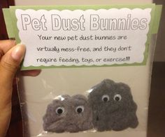 Perfect White Elephant DIY Gift for the Gift Exchange. Pet Dust Bunnies. They are easy to make. Things needed: Dryer lint, a plastic sandwich bag, eyes and paper.