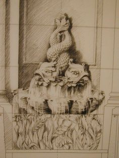 """""""TCS rendering for a stone fountain."""" See it in Issue No.3 http://artisanalspecs.blogspot.com/2012/08/written-in-stone-richard-carbino-talks.html"""