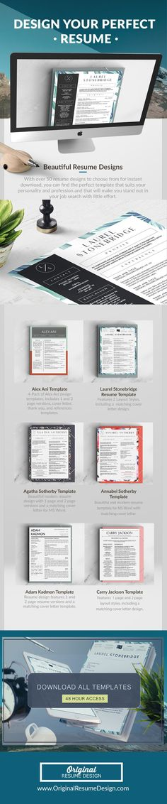 Beautiful resume designs to help you stand out in your job search! Here, you will find everything you need to design your perfect resume!