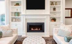 Living Room Layout With Built Ins - Sierra Flame Langley 36 Direct Vent Linear Gas Fireplace Fireplace Built Ins, Home Fireplace, Fireplace Remodel, Living Room With Fireplace, Fireplace Surrounds, Fireplace Design, Gas Fireplaces, Electric Fireplaces, Fireplace Ideas