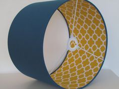 Living Room Yellow Details - NEW Handmade Teal and Mustard Yellow Quatrefoil Lining Geometric Drum Lampshade. Mustard Living Rooms, Mustard Bedroom, Teal Living Rooms, Ikea Living Room, Blue Rooms, Living Room Designs, Blue And Yellow Living Room, Living Room Lamp Shades, Mustard Sofa