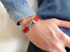 EXPRESS SHIPPINGRed Thick Braided Leather BraceletHigh