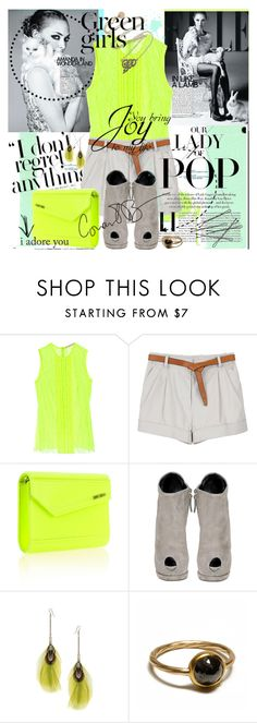 """""""Be Bold! Be Extraordinary!"""" by lusy-lusy ❤ liked on Polyvore featuring Christopher Kane, 3.1 Phillip Lim, Jimmy Choo, Giuseppe Zanotti, Dorothy Perkins, Annina Vogel, denim shorts, bustier tops, cocktail rings and feather earrings"""