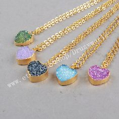 Wholesale Gold Plated Heart Dyed Rainbow Agate Druzy Geode Charm Necklace Golden Chain Electroformed Gemstone Drusy Geode Jewelry G0229 by Druzyworld on Etsy