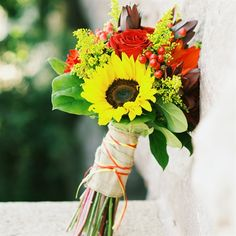 Red and Yellow Bridal Bouquet