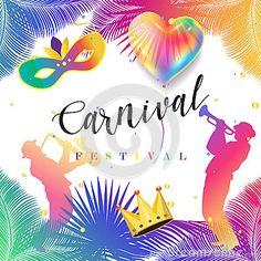 Carnival lettering and musicians, carnival mask, crown, balloons, falling bright confetti, palm tree leaves frame background for Birthday, Holiday, Carnival, Music Festival, Christmas Masquerade, Venetian carnival, Brazilian carnival, invitation background design. Paper Frame decoration. Kids event festive Vector illustration.