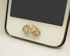 Bling Crystal Infinity Cell Phone Home Button Sticker