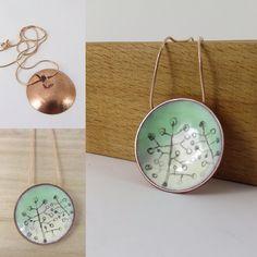 "6 Likes, 1 Comments - Justine Nettleton (@830_degrees) on Instagram: ""New 2 tone enamel pendant with botanical drawing detail. #enameljewelry #handmade #jewelry #pendant…"""