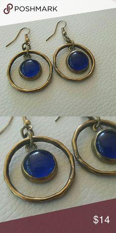 "Blue dangle earrings Great condition  2""L light weight Anthropologie Jewelry Earrings"