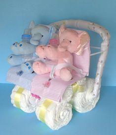 Twin Diaper Cake  Diaper Stroller twin
