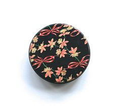 Vintage Candy Tin Black Pink Daffodils Ribbons Bows