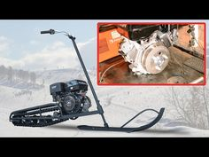 The maximum speed of 45 km / h. Removing the steering wheel and skis 1 minute. Ice Fishing Sled, Snow Toys, Snow Vehicles, Fun Moves, Bike Challenge, Amphibious Vehicle, Snow Machine, Motorized Bicycle, Bike Style