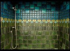 Okay this has nothing to do with my renovation, I just had to pin it because it's so beautiful.  This is the shower in an Arts and Crafts home.  If I ever own a true bungalow (my house is more folk vic than bungalow) I would totally do the shower this way.