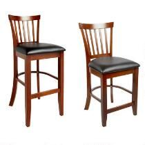 Walnut Wood Cushioned Bar Chair