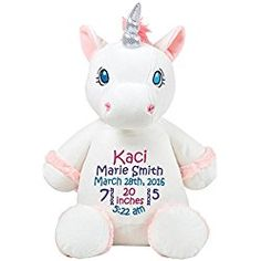 a48ef1892ed Personalized Stuffed White Unicorn with Embroidered Baby Block in Hot Pink