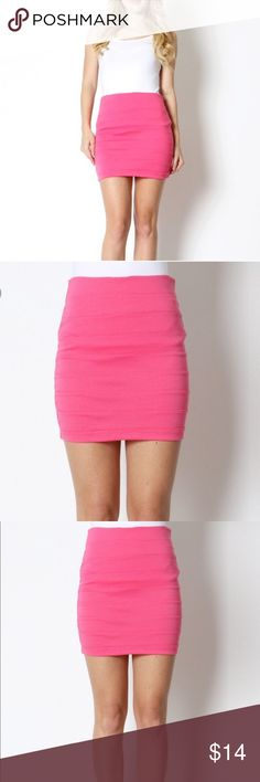 << Hot Pink Bodycon Mini Skirt >> Super cute hot pink mini skirt! Perfect for a night out! Dress it up or dress it down. Stretchy, fits TTS. 78% poly 18% Spandex 4% rayon Boutique Skirts