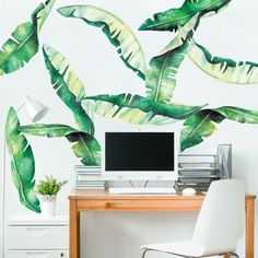 Our Banana Leaves Watercolor Wall Decal will turn your nursery, bedroom or dorm into a tropical paradise. The Kit includes 10 large Banana Leaf decals that are made from our Watercolor illustrations. Wall Stickers Murals, Wall Decal Sticker, Wall Murals, Decals, Watercolor Walls, Watercolor Trees, Palm Tree Leaves, Tropical Leaves, Orange Peel Texture
