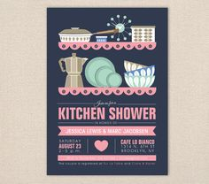 Mid Century Modern Kitchen Shower Invitation by FromLUCYwithLOVEwed