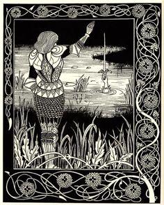 Aubrey Beardsley - Excalibur in the Lake